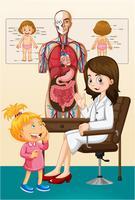 Chica y doctora en la clínica.