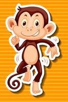 Macaco dançando em fundo amarelo