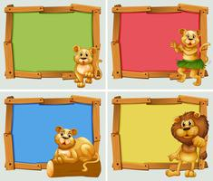 Wooden frames with wild animals