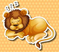 Lion sleeping on polkadots background