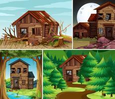 Cuatro escenas con casas antiguas en el campo.
