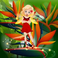 Red fairy flying in flower garden