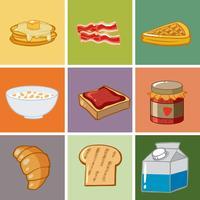 Färgglada hälsosam frukost uppsättning mall