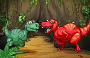 Two dinosaurs by the cave