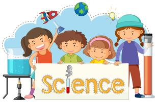 Cute Kids with Science Banner