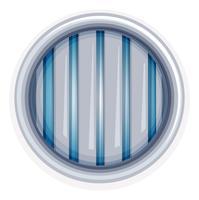 Weißes rundes Fenster mit Metallstangen