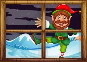 Ein Christmad Elf außerhalb des Fensters