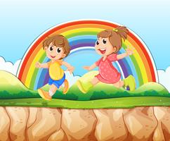 Boy and girl running on the cliff