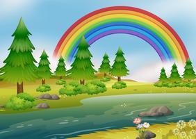 Un bellissimo paesaggio arcobaleno del fiume