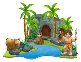 Caveman and two bears by the river