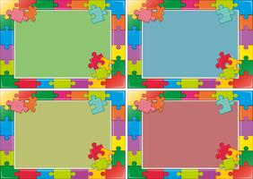 Four frames design with jigsaw puzzle vector