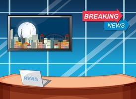Breaking news studio template vector