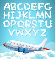 Fonte de alfabeto inglês de nuvem