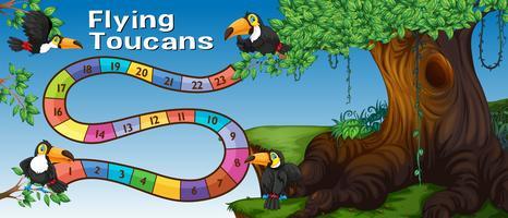 Modelo de jogo de tabuleiro com aves tucano na floresta