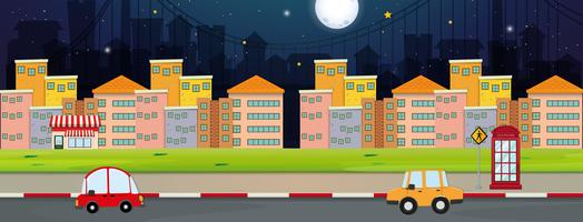 Background scene with buildings and cars in city