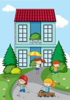 Children playing in front of house vector
