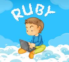 A young man coding ruby
