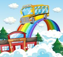 Schoolbus die over de regenboog berijdt