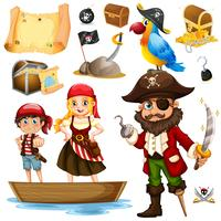 Pirate and crew on ship