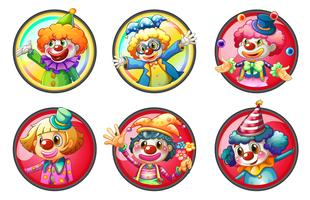 Clown characters on round badges