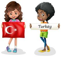 Two girls and flag of Turkey