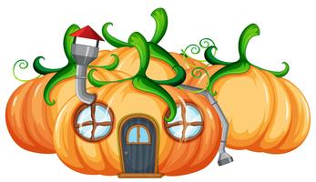 Pumpkin house on white background