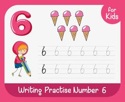 Number six tracing worksheets