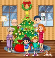 Een familie die Kerstmis viert