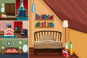 Different rooms in the house