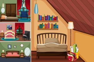 Diferentes habitaciones en la casa.