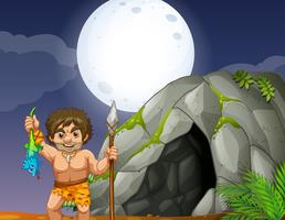 Cave and caveman vector