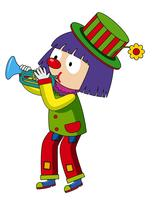 Happy clown blowing trumpet