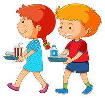 Niño y niña con bandeja de comida
