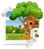 Many children playing in treehouse