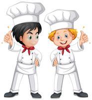Dos chef masculino en traje blanco