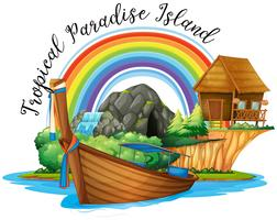 Summer theme with cottage and boat on island