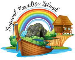 Thème de l'été avec chalet et bateau sur l'île