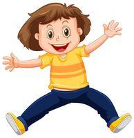 Un garçon heureux sur fond blanc