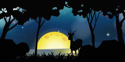 Scène de silhouette avec des cerfs dans la nuit de pleine lune