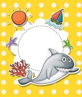 Una cartoleria con un grande squalo grigio