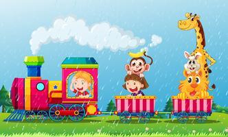 Escena de lluvia con animales en el tren.