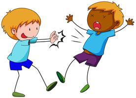 Bully boy pushing friend