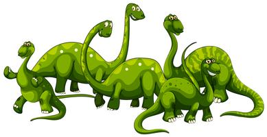 Brachiosaurus family on white background