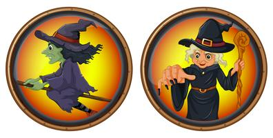 Witches on round badges