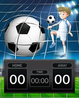 Fotbollsspelare med scoreboardkoncept