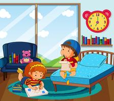 Boy and girl drawing picture in bedroom