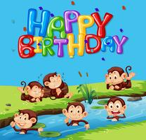 Happy birthday template with monkey
