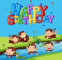 Plantilla de feliz cumpleaños con mono