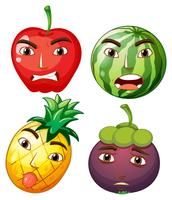 Different fruits with facial emotions