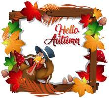 Marco de madera de pavo otoño feliz